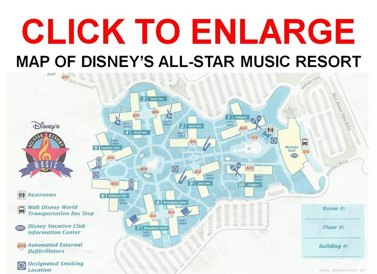 Map of All Star Music Resort ask for a 1st floor room