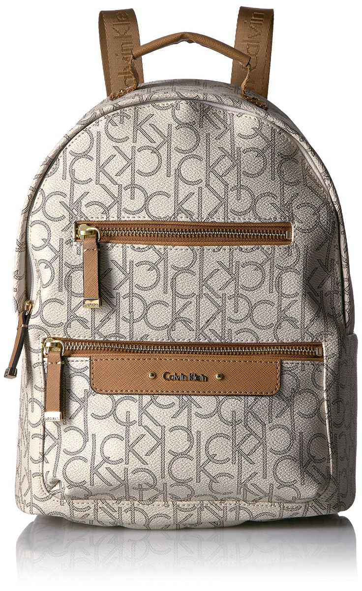 Calvin Klein Monogram Multi Zip Face Backpack, Alm/Khk/Cashew Saff