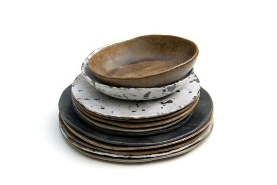 Rustic Birch Bark Dinnerware 4 Place Set by FarmhouseMud on Etsy