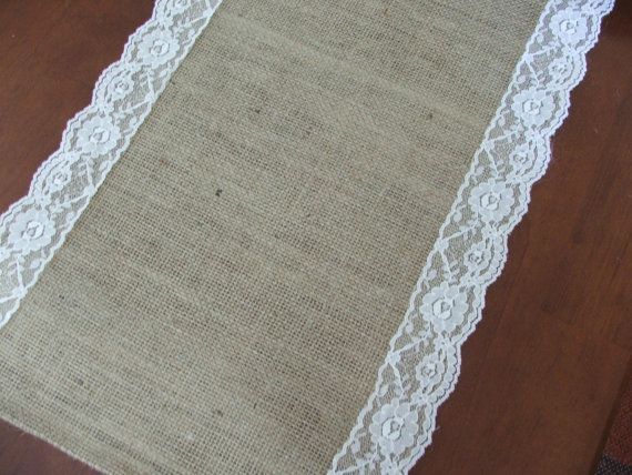 Burlap table runner with lace wedding table runner rustic romantic wedding via Etsy