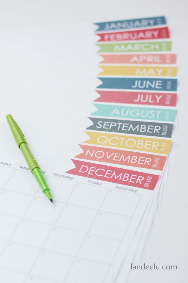 Free Printable Calendar 2016 | landeelu.com A simple, free printable calendar for 2016! Very ink friendly with lots of room to write!: