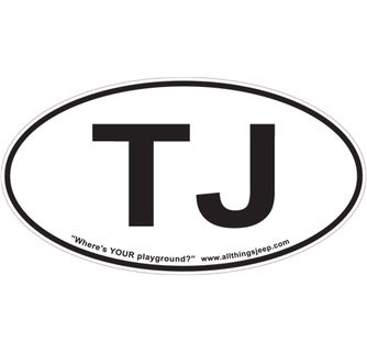 """TJ Oval """"Euro"""" Sticker for your Jeep TJ"""