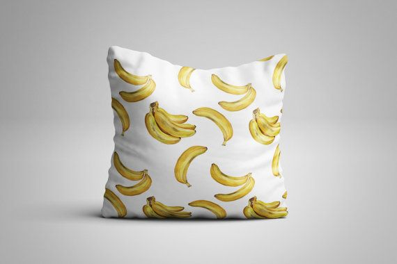Banana Cushion. 12 x 12 inch Cushion by NJsBoutiqueCo on Etsy