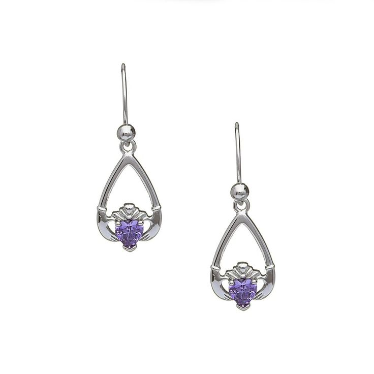 February Birthstone Claddagh Earrings - Claddagh Birthstone Jewelry - Rings from Ireland-Amethyst: Moderation