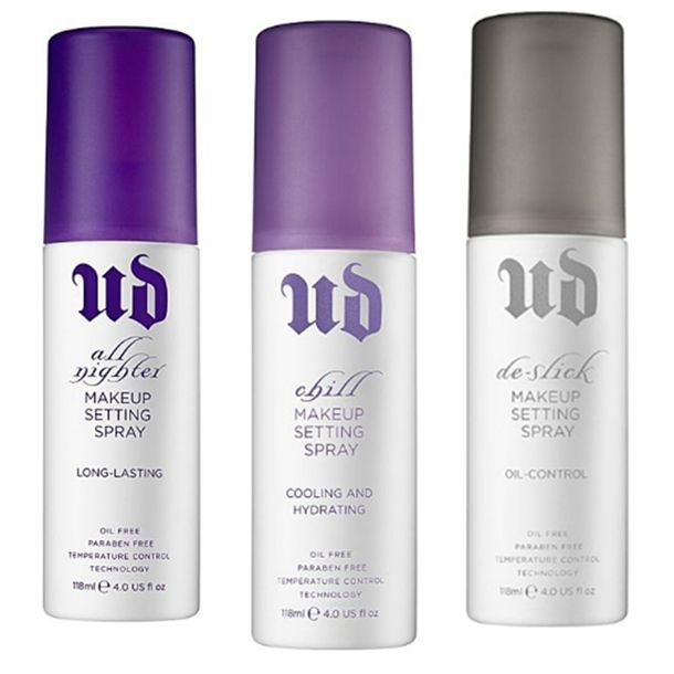 Urban Decay De-Slick Makeup Setting Spray- I have oily skin and used to carry around those oil blotting sheets like crazy! bought the de-slick setting spray and my face never get oily! used it when I went out for my bday and was amazed when I got home and my makeup looked like I'd just applied it:) highly recommend it -Lyndsey