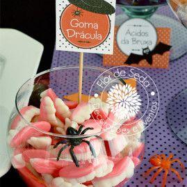 Festa Infantil Halloween - Detalhes mesa decorada - doces personalizados Mais