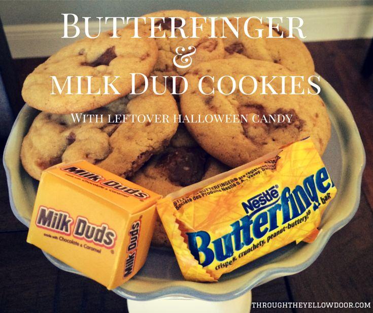 Leftover Halloween Candy Recipe: Butterfinger & Milk Duds Cookies