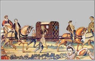 Arrivée de la reine Eléonore ;François I° est alors le rival de Charles-Quint. Fait prisonnier lors de la défaite de Pavie en 1525 , le roi de France reste détenu en Espagne jusqu'à la signature d'un humiliant traité de Madrid en 1526, par lequel il doit renoncer à toute revendication sur l'Italie, les Flandres et l'Artois, livrer le duché de Bourgogne à l'Empereur et veuf de Claude de France, doit épouser la propre soeur aînée de Charles Quint, âgée de 28 ans et veuve du roi de Portugal.