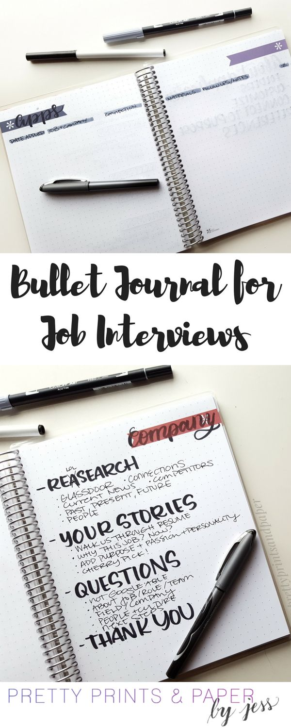 bullet journal for job interviews career searchjob searchresume