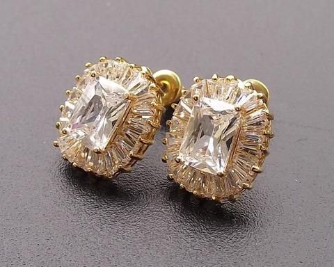 Gold Art Deco Style Stud Earrings Josephine