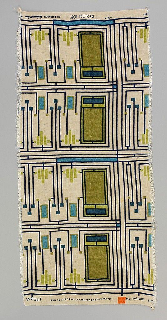Vintage Fabric And Haberdashery Frank Lloyd Wright 1955 Pattern Art Printing On Fabric Prints