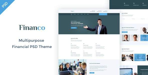 Financo - Finance & Investment Consulting PSD Template - Business Corporate Template PSD. Download here: https://themeforest.net/item/financo-finance-investment-psd-template/16515996?s_rank=26&ref=yinkira