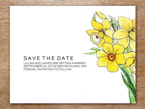 This Save the Date template is illustrated with a hand-drawn daffodil image by artist Stephanie Levy.
