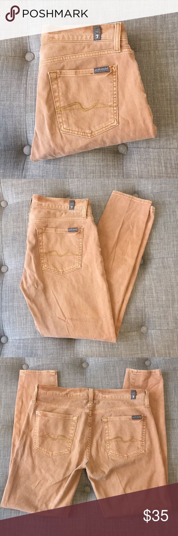 """7 for all mankind Roxanne khaki skinny jeans 28 7 for all mankind Roxanne khaki skinny jeans 28. In excellent used condition. These are so soft and stretchy and comfortable to wear. Waist is approximately 16"""" hips approximately  19"""" inseam approximately 28"""" 7 For All Mankind Jeans Skinny"""