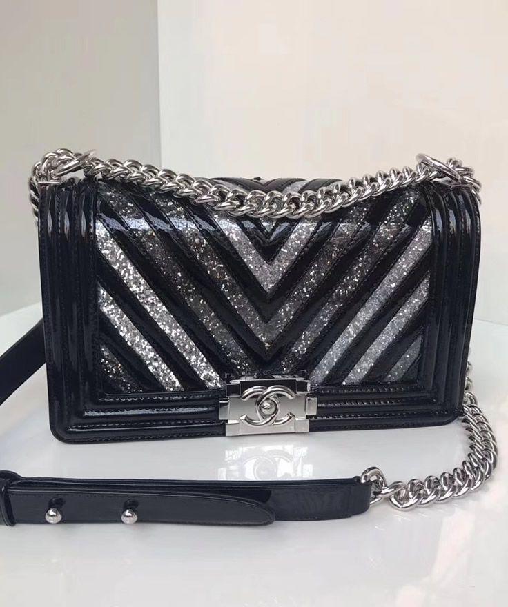 ad0d341fe5a3ac Boy Chanel Medium Chevron Quilted Flap Bag in Black Patent Calfskin ...