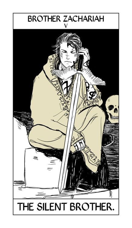 Brother Zachariah Tarot card by Cassandra Jean (it isn't being used in the final deck). She drew him before she knew who he was, so now she says she has to redraw him. Here he is though, months January through December of the Hot Silent Brothers calendar :)