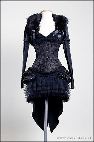 Long hack corset dress with faux fur shoulders