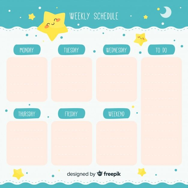 Download Cute Hand Drawn Weekly Schedule Template For Free ม