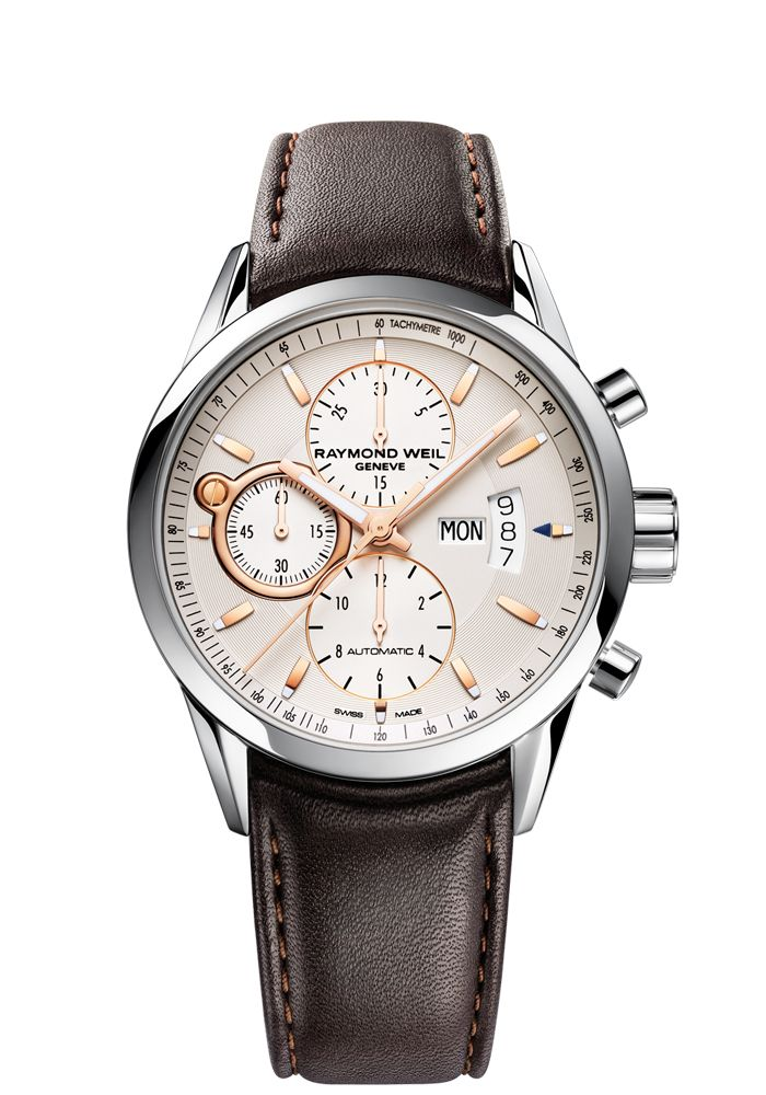 Freelancer 7730-STC-65025 Mens Watch - Freelancer Automatic chronograph Steel on leather strap rose gold indexes and hands | RAYMOND WEIL Genève Luxury Watches