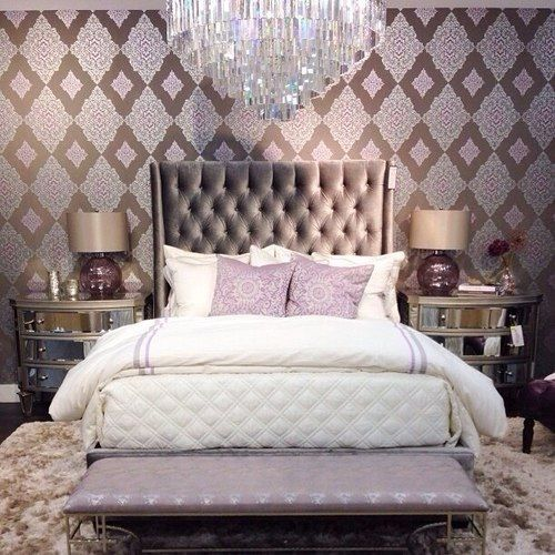Hollywood glam teen room nice walls with a simple bed makes it look so elegant