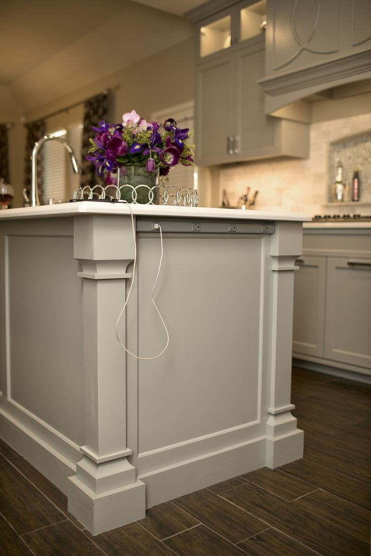 Outlet Strip At End Of Kitchen Island With Usb Port Gray Cabinets In Transitional Kitchen Kitchens Diy Kitchen Renovation New Kitchen Cabinets Kitchen Style