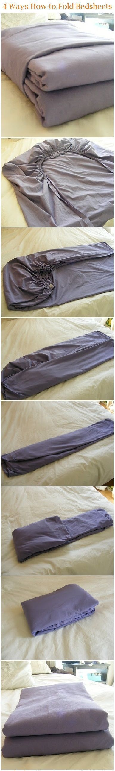 How to fold fitted sheets. Check my video on youtube. I was the most undomesticated person you could find, and if I can do it, you will too!