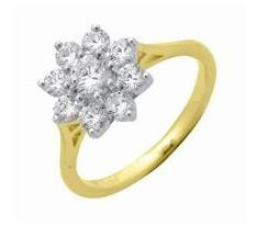 9-diamond cluster ring with gold band. So classic, feminine and pretty.