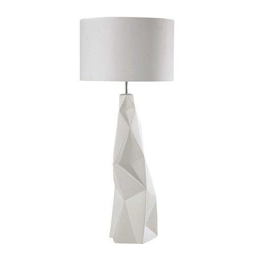 Staande lamp, keramiek voet en witte stoffen kap, hoogte 119 cm, NAPOLI