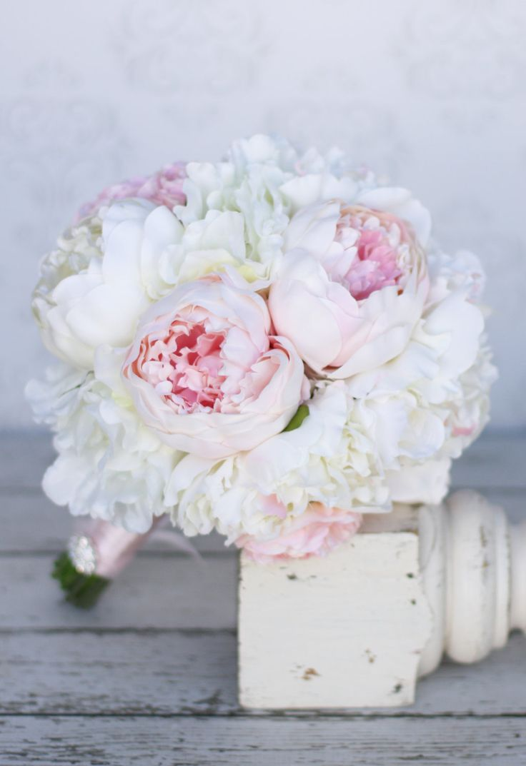 Silk Bride Bouquet Peony Peonies Shabby Chic Vintage Inspired Rustic Wedding (item F10384). $99.00, via Etsy.