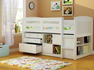 white mid sleeper cabin bed with storage cupboards drawers and cube bookcase kids ideaskids