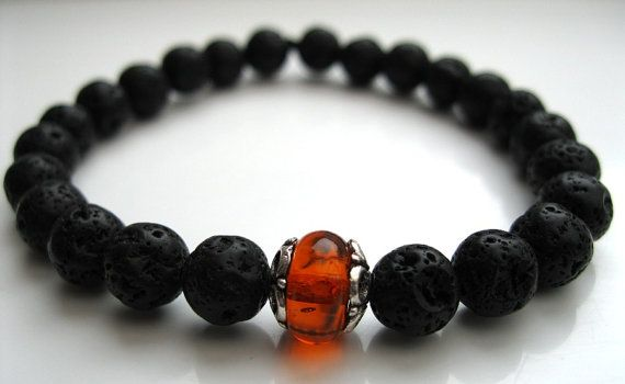 Mens Lava Stone and Copal focal bead bracelet
