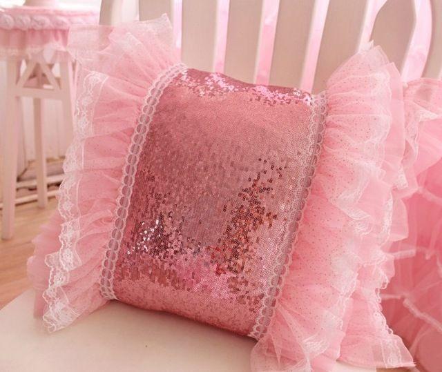 # 498 beleza deam princesa rosa lantejoula & lace almofada sem fliing menina amante sofá cama home room dezembro atacado