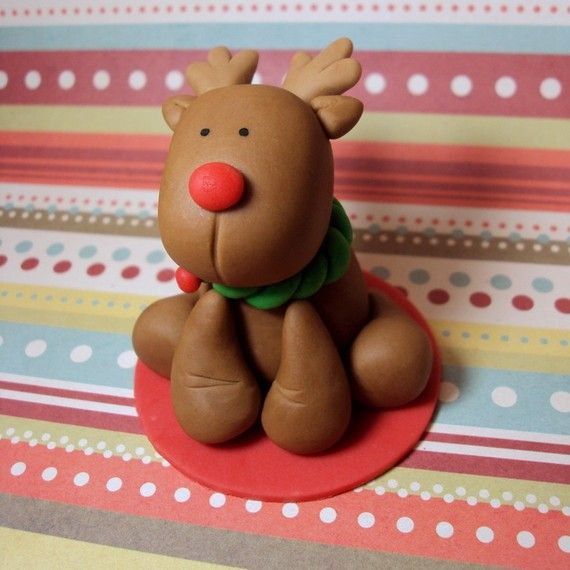 6 Reindeer Cupcake Toppers for Christmas by SweetTouchDecor, $21.00