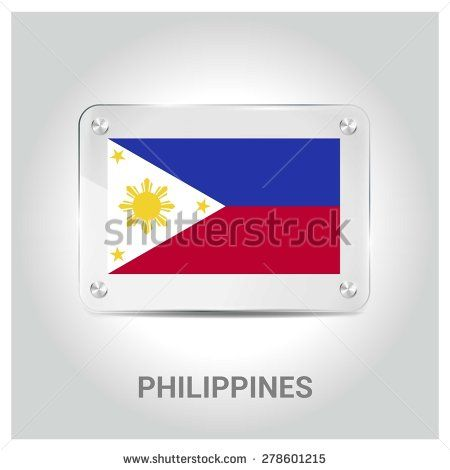 Vector Philippines Flag glass plate with metal holders - Country name label in bottom - Gray background vector illustration