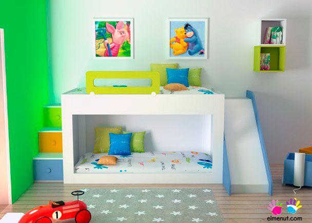 Habitación Infantil: Zona juegos+zona de descanso+almacenamiento | Dormitorio infantil en el que hemos intentado integrar: Espacio de juegos + zona de descanso + capac