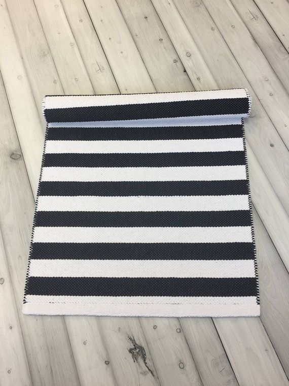 Scandinavian Black And White Woven Washable Striped Runner Rug