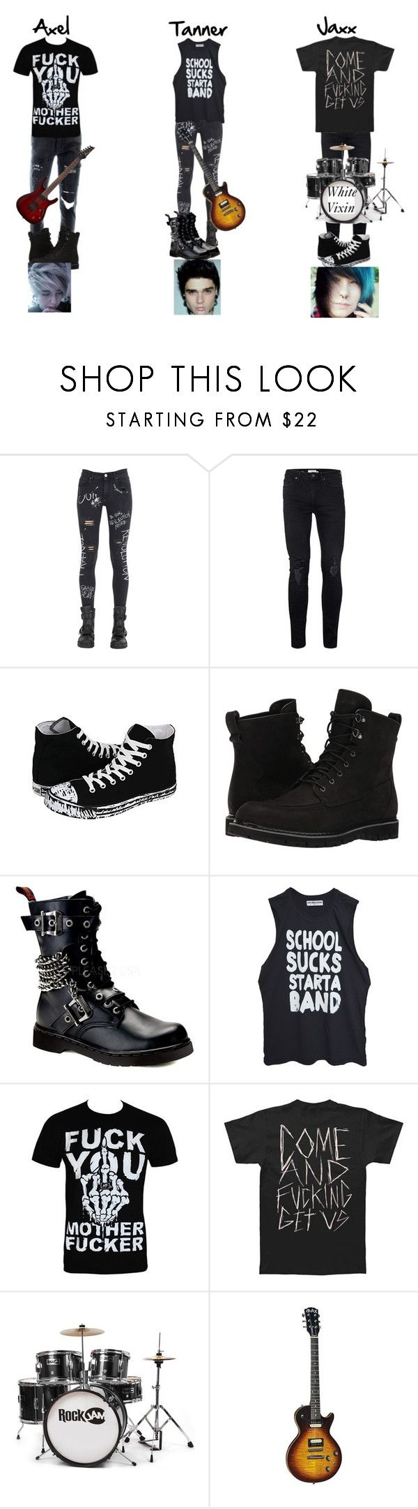 """""""PRP~"""" by beautifully-broken-allie ❤ liked on Polyvore featuring GaÃ«lle Bonheur, Topman, Converse, Timberland, Demonia, High Heels Suicide, men's fashion and menswear"""