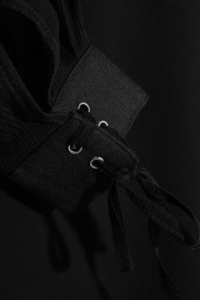 Max Mara - Plissé Silk-chiffon And Linen-paneled Stretch-jersey Blouse - Black - xx large