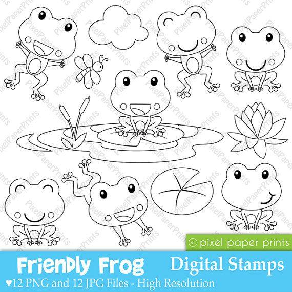 Friendly Frog Digital stamps by pixelpaperprints on Etsy, $5.00