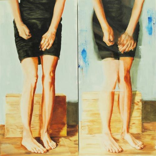 """Delee DeCap, Hands & Legs with Winebox (Standing), diptych, oil on canvas, 20""""x40"""" each panel. $2400"""