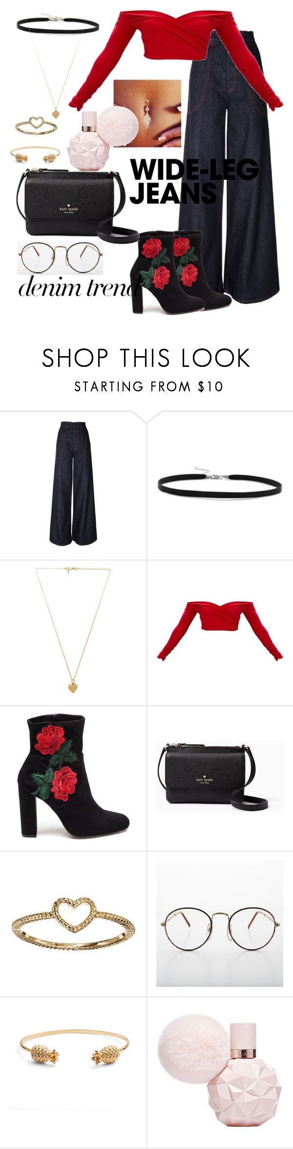 """""""Wide-Leg Jeans and Roses"""" by tyler-brea ❤ liked on Polyvore featuring Marni, BillyTheTree, Vanessa Mooney, Steve Madden, Kate Spade, LC Lauren Conrad, Rachel Jackson, denimtrend and widelegjeans"""