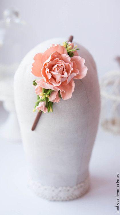 """Купить Ободок """"Девичьи мечты"""" - кремовый, персиковый, Персиковый цвет, ободок для волос, ободок с цветами"""