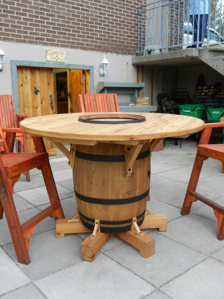 Wine Barrel Table my husband just finished