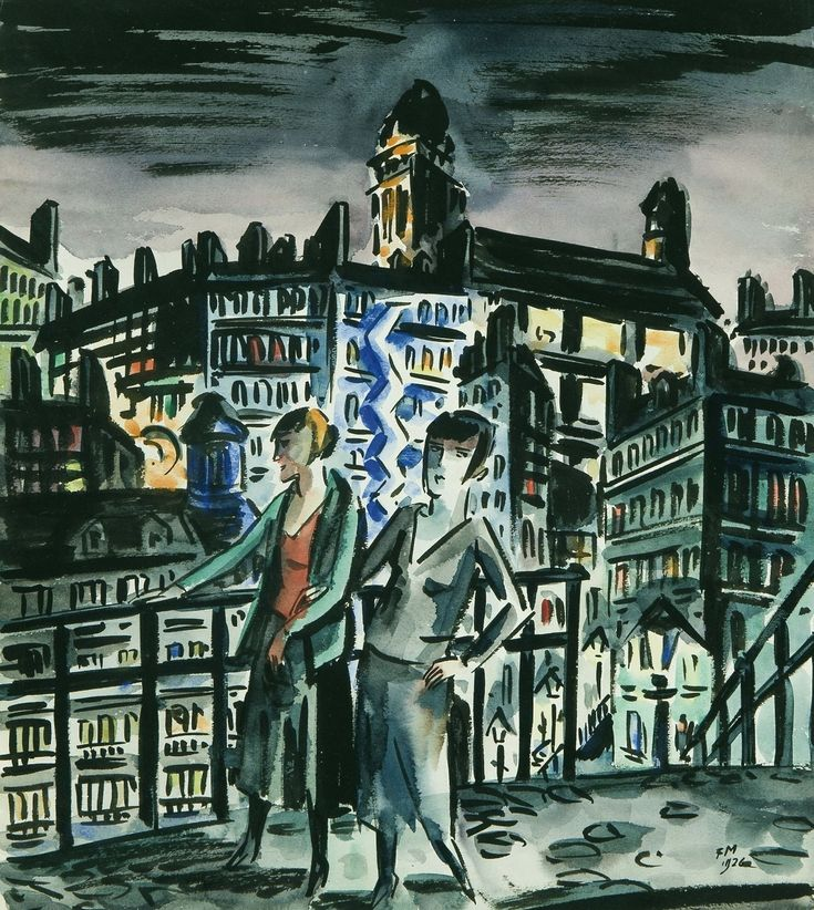 Frans Masereel (Belgian, 1889-1972), Deux amies devant la ville lumière [Two friends in the city of light], 1926. Watercolour with brush and India ink, 41 x 36,5 cm