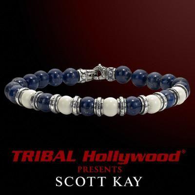 BLUE LAPIS AND WHITE BONE ALTERNATING Bead Bracelet by Scott Kay