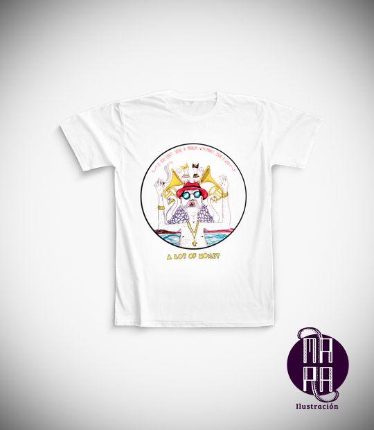 Camiseta Blackcat para hombre Talla: M Color: Blanca http://camaloon.es/descubre/artistas/mara-ilustracion/creaciones/black-cat-white-cat/camisetas-personalizadas/camisetas-personalizadas-hombre/productos