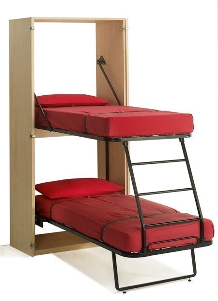 Clever, larger sizes available too. Vertical Bunk Bed - Euro FlyingBed - this is just too cool, you can see how it works here.  Great for my small room to transform from an office to a spare guest room.