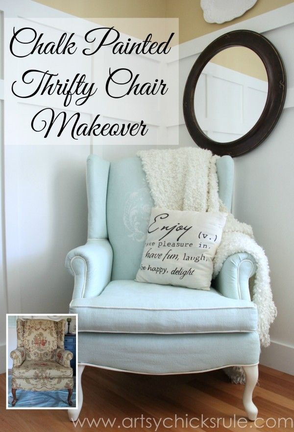 Chalk Painted Upholstered Chair Makeover - After Makeover - artsychicksrule.com #paintedupholstery #chalkpaint #diy
