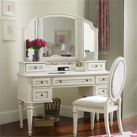 This vanity can grow up with any little girl