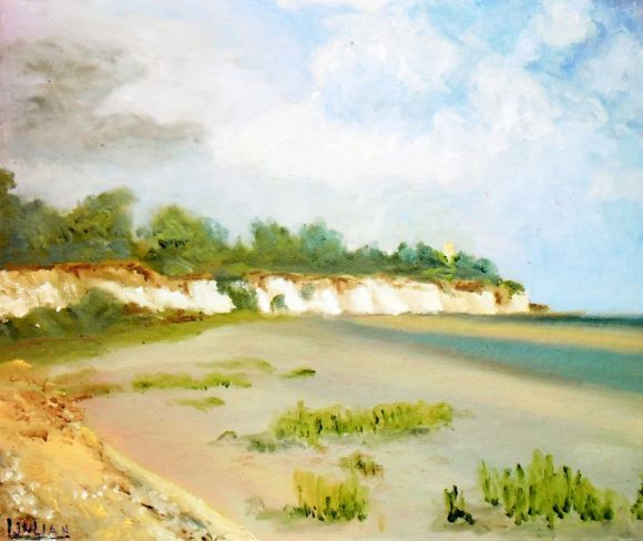 Pegwell Bay near Ramsgate. The place where St Augustine landed, in East Kent. Oil Painting!
